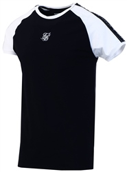 Siksilk Black S/S Raglan Straight Hem Tape Gym Tee