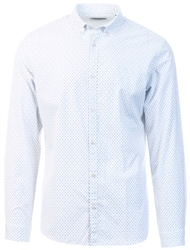 White Printed Long Sleeve Shirt by Jack & Jones