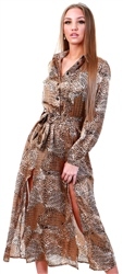 Ax Paris Snake Print Long Sleeve Shirt Maxi Dress