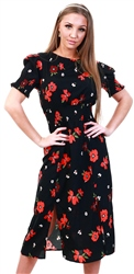 Influence Black Floral Print Midi Dress