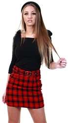 Miss Truth Red Check Mini Belted Skirt