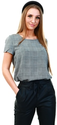 Only Cloud Dancer / Prince Of Wales Check Printed Top