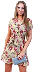 Qed Stone Floral Pattern Print Short Tea Dress