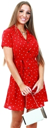 Qed Red Pattern Print Short Dress