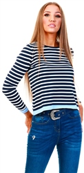 Only Blue / Night Sky Striped Knitted Pullover