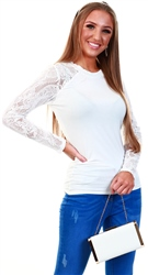 Only White / Cloud Dancer Lace Sleeve Top