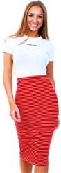 Red Stripe Rib Midi Skirt by Glamorous