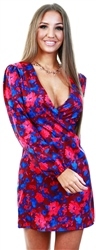 Parisian Floral Print Wrap Mini Dress