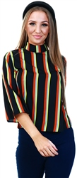 Only Black/Cool Stripe Printed Top