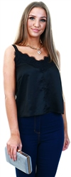 Lexie & Lola Black Satin With Lace Trim Cami Top