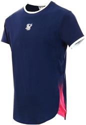 Navy/Neon Fade Fade Panel Slide Tee by Siksilk