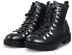 No Doubt Black Lace Up Faux Leather Boot