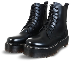 No Doubt Black Platform Lace Up Boot