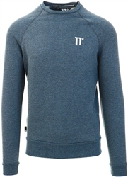 11degrees Deep Water Blue Marl Core Sweatshirt