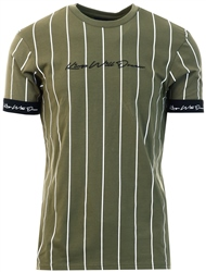 Khaki Clifton Pinstripe T-Shirt by Kings Will Dream