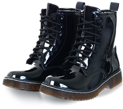 No Doubt Black Pu Lace Up Boots