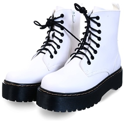 No Doubt White Platform Lace Up Boot