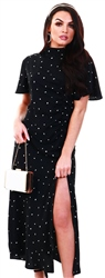 Ax Paris Black Spot Print Midi Dress