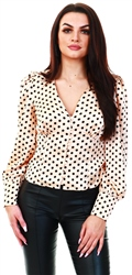Glamorous Peach / Black Spot Button Front Top
