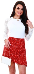 Missi Lond Red Floral Pattern Mini Skirt