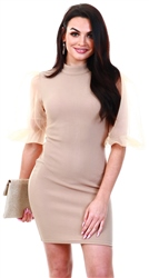 Ax Paris Mocha Puff Sleeve Bodycon Dress