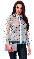 Parisian Light Blue Polka Dot Organza Puffed Sleeve Button Up Shirt