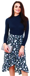 Navy Floral Print Midi Skirt by Missi London