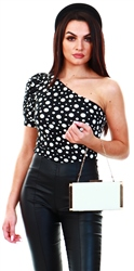 Ax Paris Black Spotty One Sleeve Bodysuit