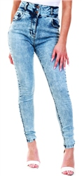 Parisian Blue Denim Acid Wash High Waist Button Jean