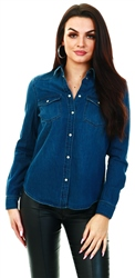 Veromoda Blue / Medium Blue Denim Denim Shirt