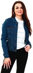 Veromoda Blue / Medium Blue Denim Short Denim Jacket
