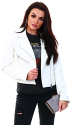 Only White / Cloud Dancer Leather Look Jacket