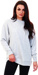 Gym King Ice Grey Marl Script Oversized Crew