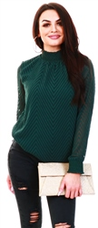 Only Green Zig Zag Patterned Long Sleeved Top