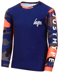 Hype Navy Camo Drips Kids L/S T-Shirt