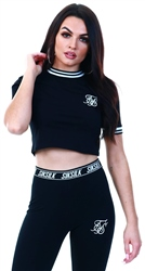 Siksilk Black Ringer Crop Tee