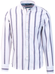 Brave Soul White Stripe Long Sleeve Shirt