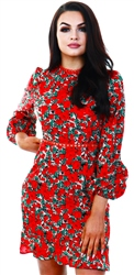 Red Floral Crochet Dress by Ax Paris