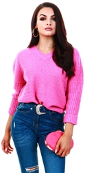 Noisy May Pink / Phlox Pink V-Neck Knitted Pullover