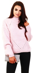 Noisy May Pink / Silver Pink High Neck Knitted Pullover