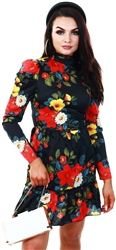 Parisian Black High Neck Floral Frill Dress