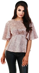 Ax Paris Pink Spotty Flared Blouse