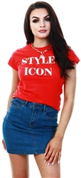 Red Slogan Print T-Shirt by Missi Lond
