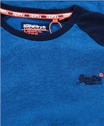 Superdry Rich Blue Marl Organic Cotton Orange Label Softball Ringer Top