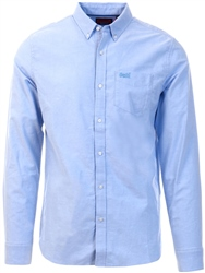Superdry Blue/Yellow Classic University Oxford Long Sleeve Shirt