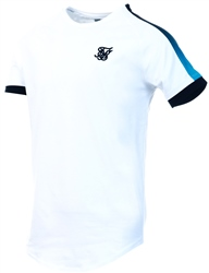 Siksilk White, Black & Teal S/S Inset Cuff Fade Panel Tech Tee