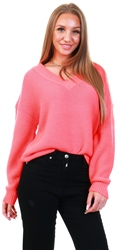 Veromoda Pink / Fiery Coral V-Neck Knitted Pullover