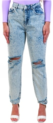 Noisy May Blue / Light Blue Denim High Waist Loose Fit Jeans