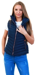 Peacoat Blue Chervil Padded Gilet With Funnel Neck by Tokyo Laundry