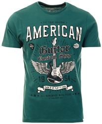 Sth Shore Mallard Green Guitar Custom Motif Cotton Jersey T-Shirt